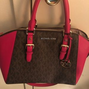 AUTHENTIC MK BROWN AND HOT PINK
